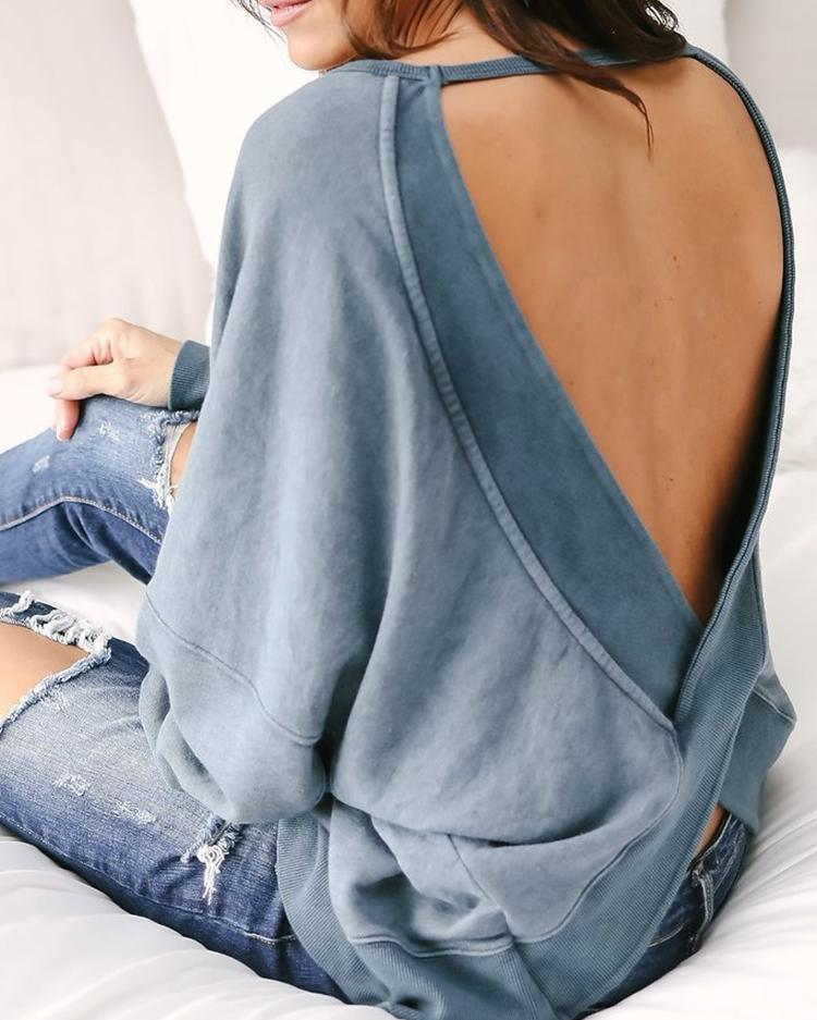 Solid Color Open Back Blouses Tops