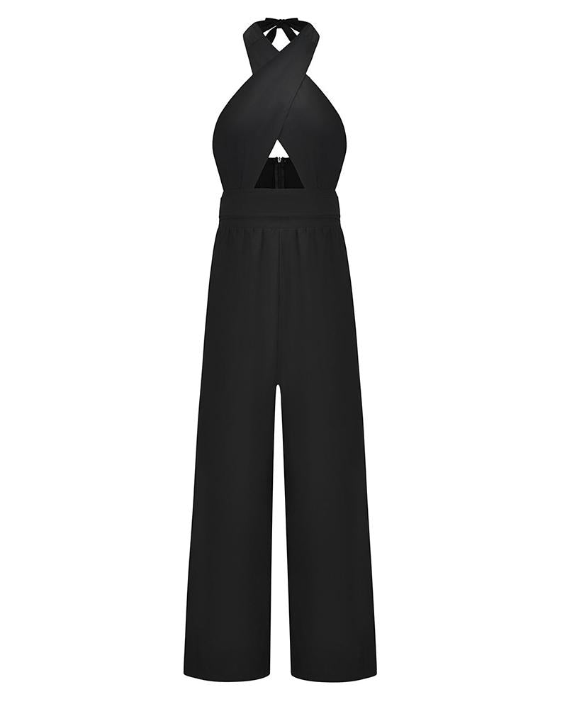 Fashion Crossed-neck Blackless Wide-leg Jumpsuit