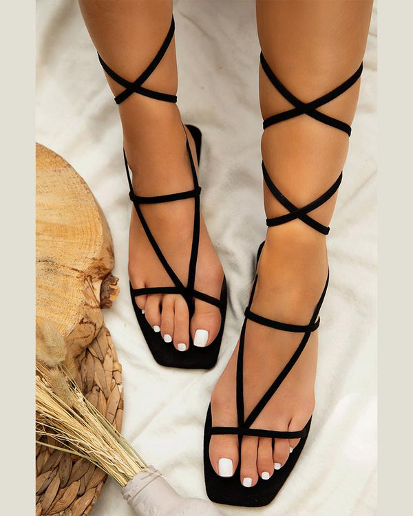 Lace-Around Flat Sandals