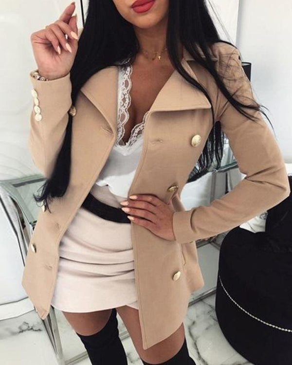 Long Sleeve Collared Button-Up Coat
