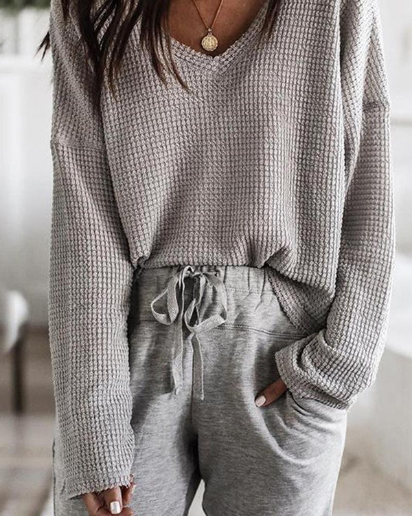 Loose V Neck Knit Tops