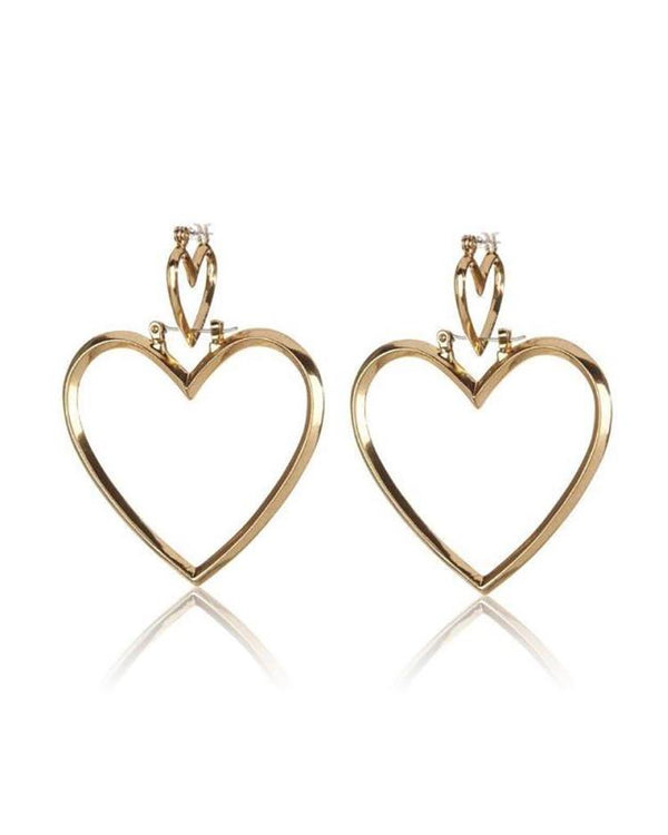 Plated Double Heart Pattern Pierced Drop Earrings