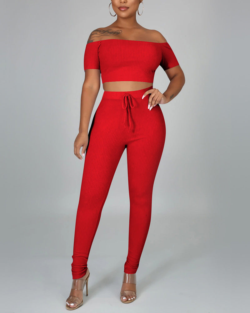 Solid Off Shoulder Short Sleeve Top & Pant Set