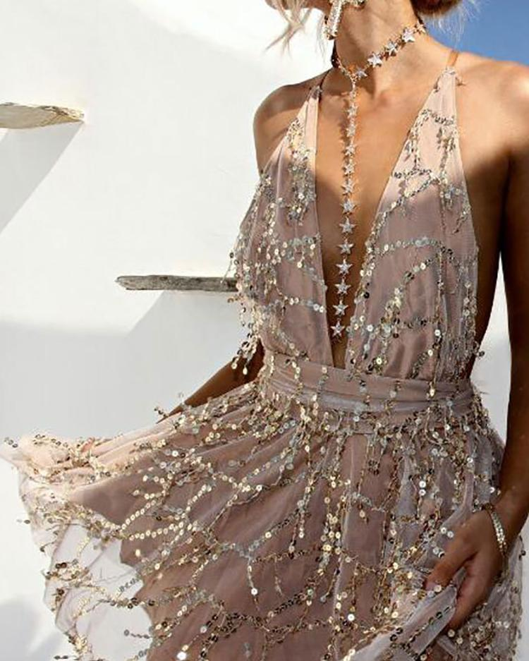 Sequined Deep V Open Back Mini Dress