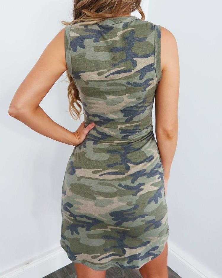 Camo Print Knot Waist Casual Dress