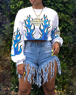 Fire Print Long Sleeve Casual Cropped Sweatshirt