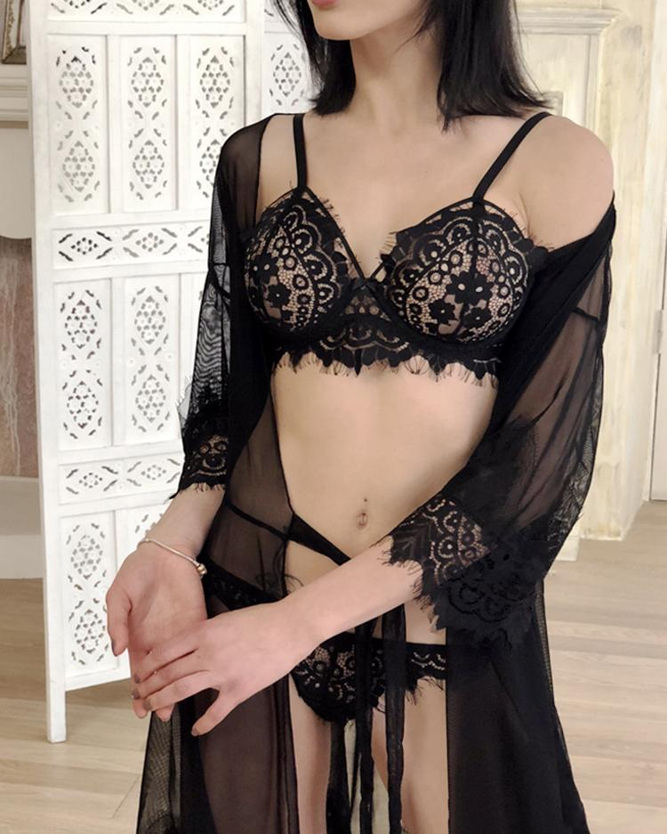 Solid Eyelash Lace Lingerie Set