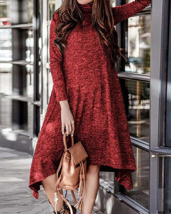 High Neck Solid Color Dress