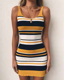 Striped Bodycon Knit Mini Dress