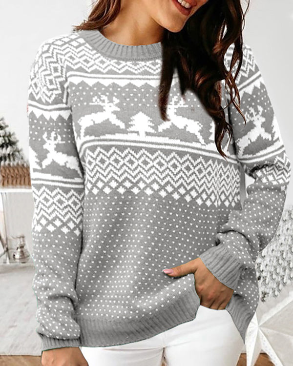 Christmas Mixed Print Knit Ugly Sweater