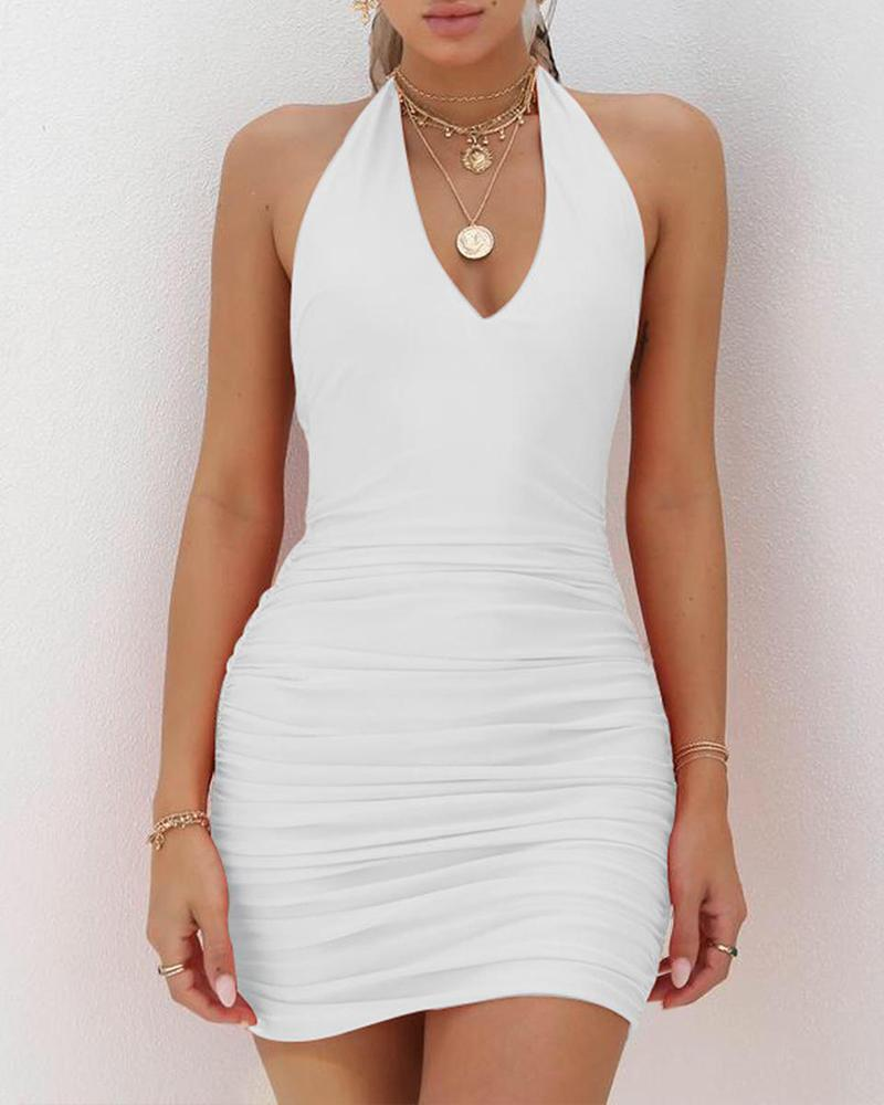 V Neck Backless Mini Dress