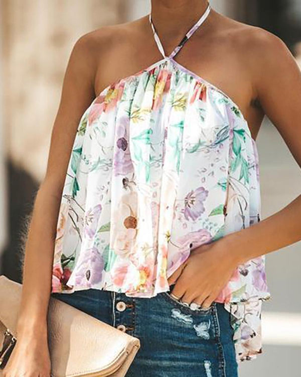 Open Back V-neck Wrapped Chest Chiffon Shirt