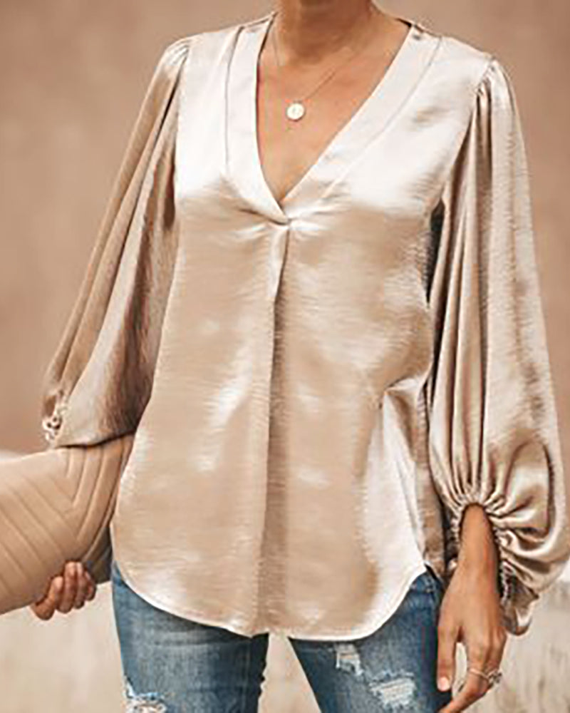 Lantern Sleeve Solid Casual Tops