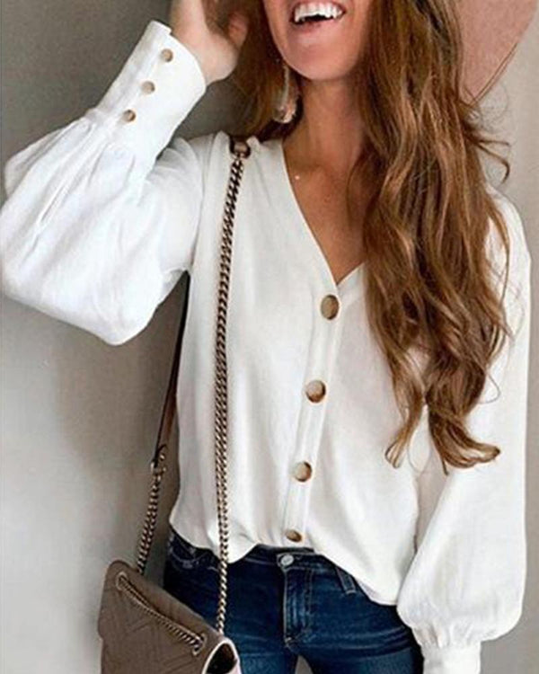 Solid V-Neck Button Up Top