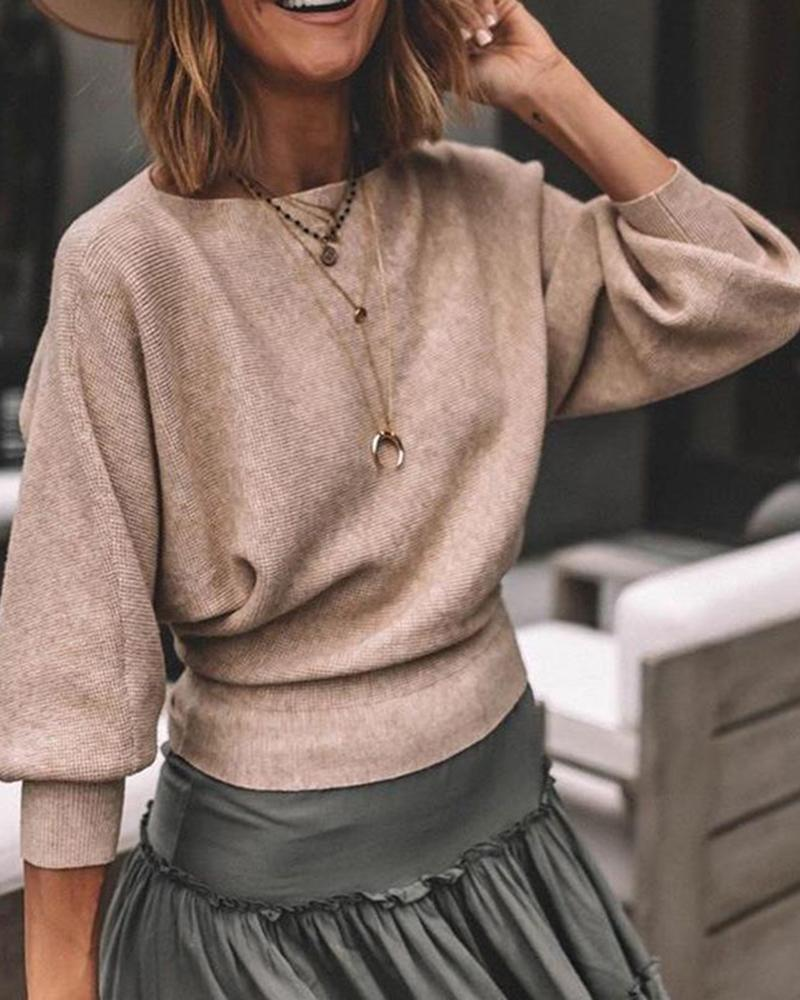 Plain Batwing Puff Sleeve Tops