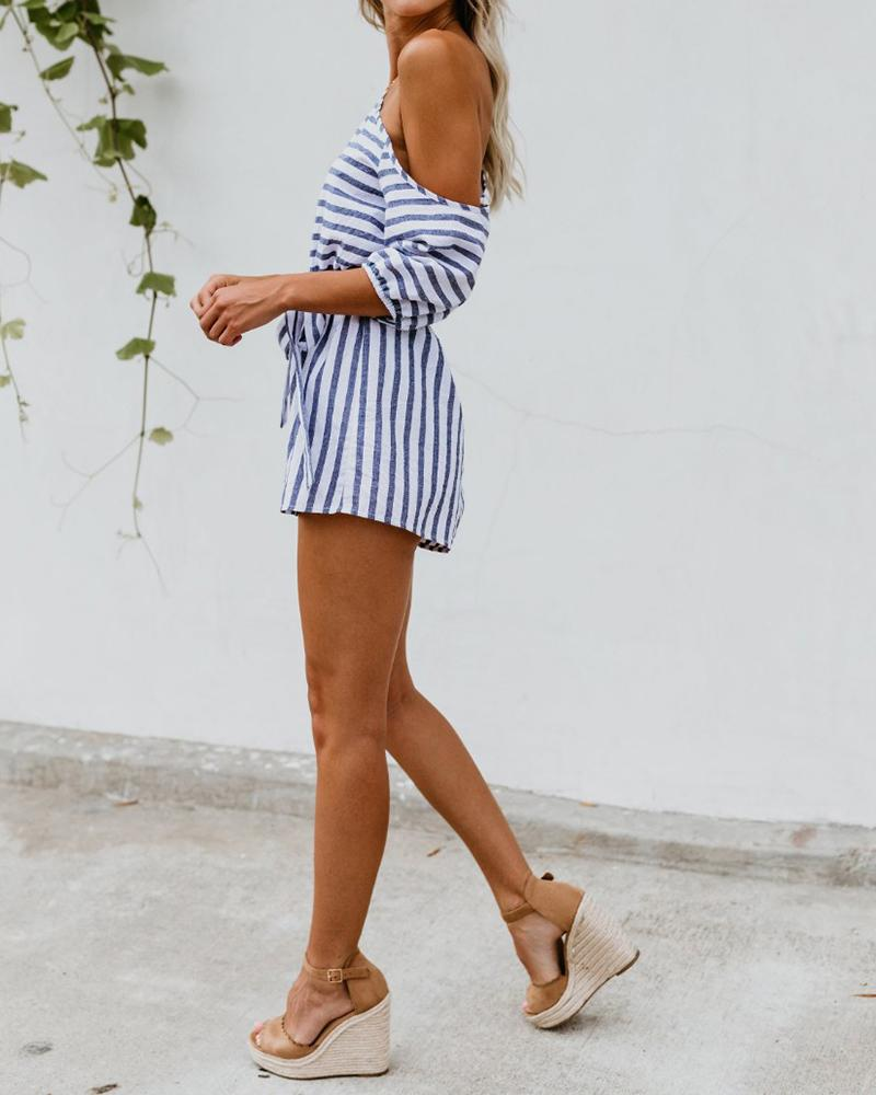 One Shoulder Striped Waist Tie Rompers