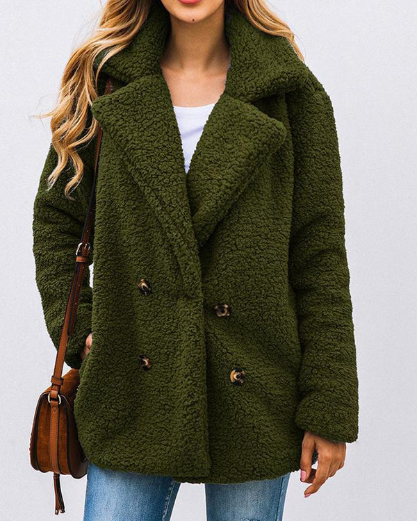 Solid Double Breasted Plush Faux Shearling Turn Down Neck Coat Jacket