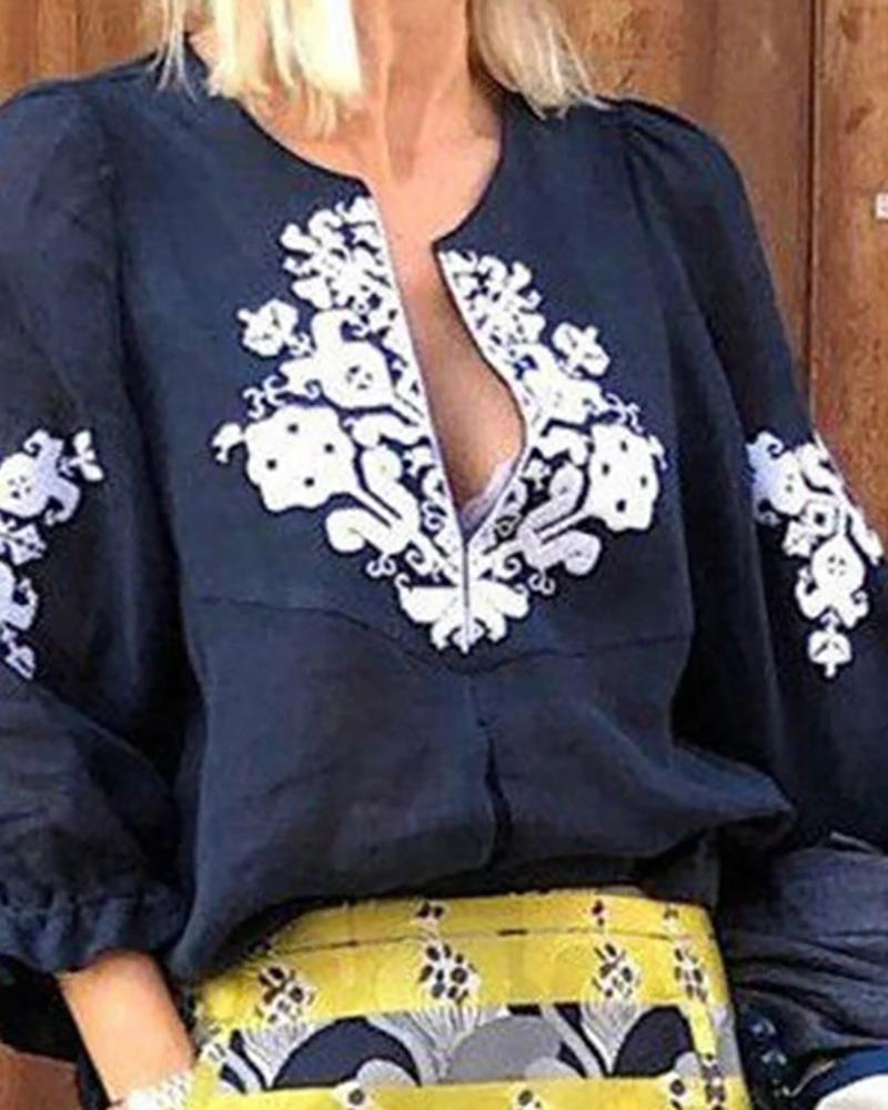 Ethnic Print Three Quarters Sleeves Blouse