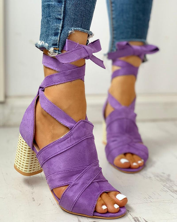 Bandage Lace-up Peep Toe Chunky Heeled Sandals