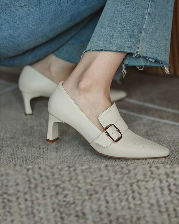 Pointed-toe Solid Color One Strap High Heels