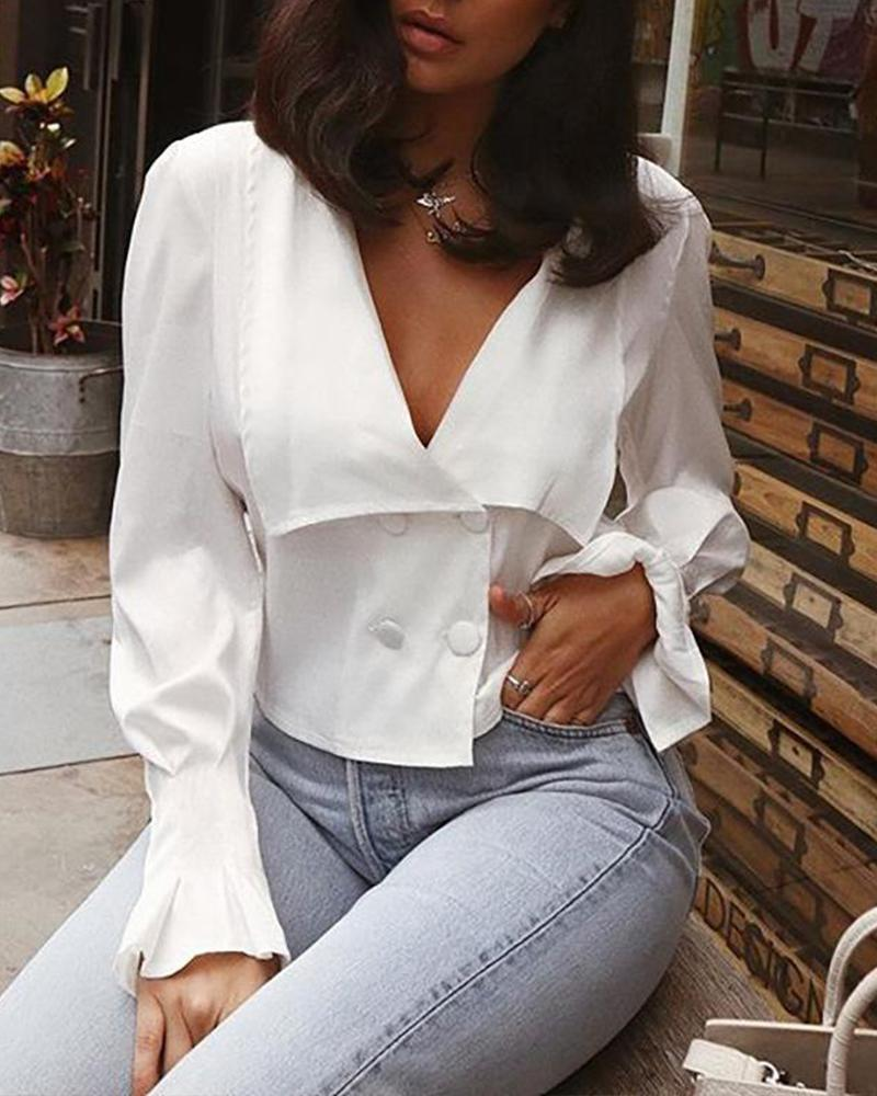 Solid V Neck Bell Sleeve Top