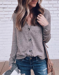 Solid Ribbed Button Up Blouse