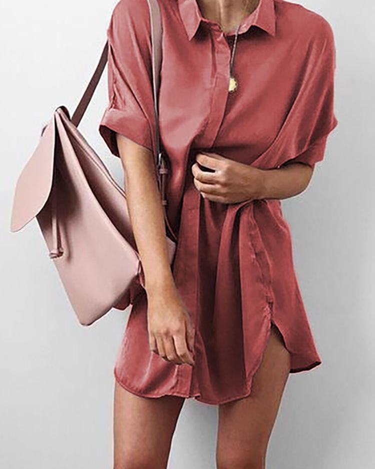 Stylish Cuffed Sleeve Side Split Loose Blouse