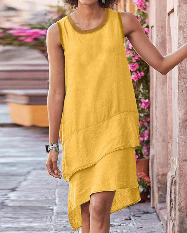 Solid Sleeveless Layered Hem Down Loose Mini Dress