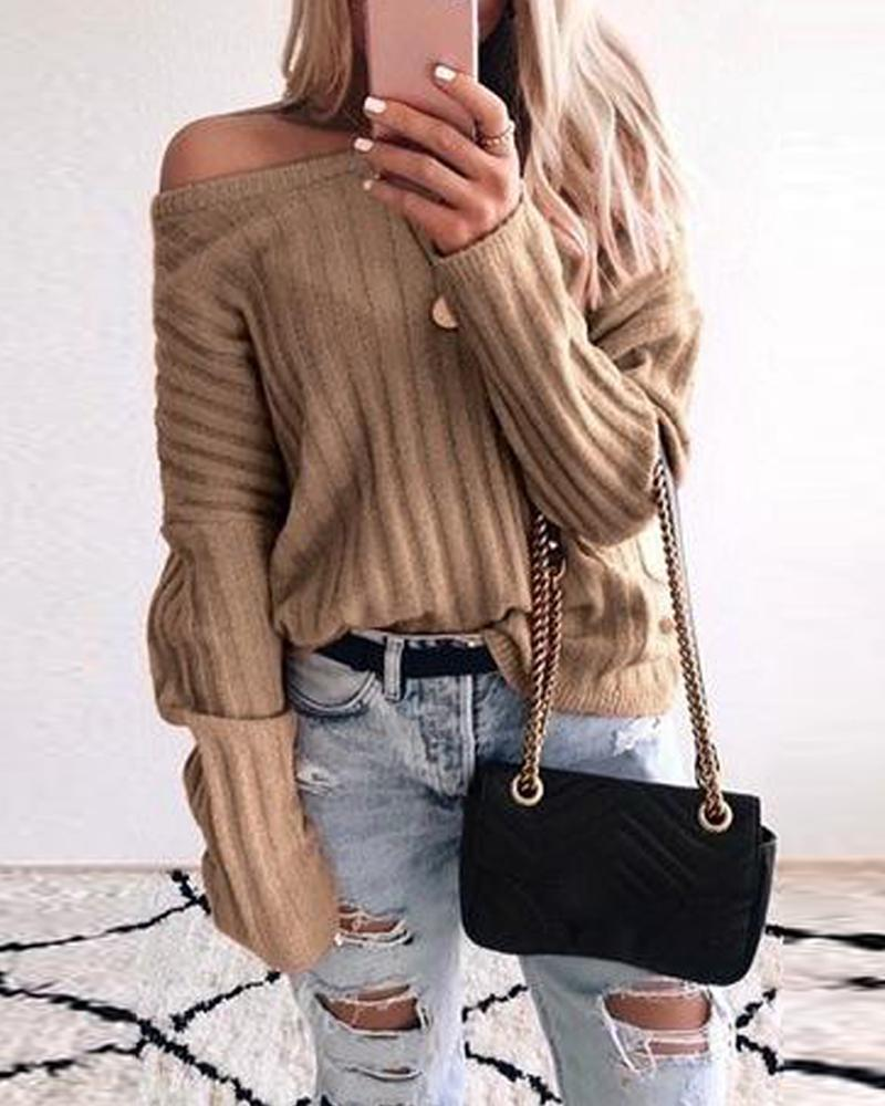 Solid Long Sleeve Ribbed Sweater