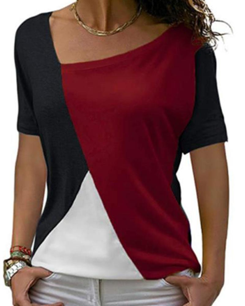 Asymmetrical Colorblock Short Sleeve Top
