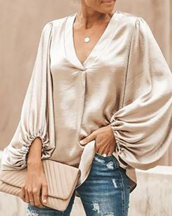 V Neck Long Sleeve Loose Blouse Tops