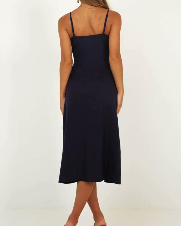 Button Down Halter Strap Tank Split Midi Dress