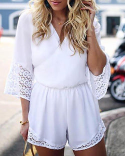 Splicing Crochet Lace Shirring Waist Casual Romper