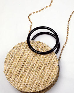 Round Straw Metallic Chain Crossbody Bag