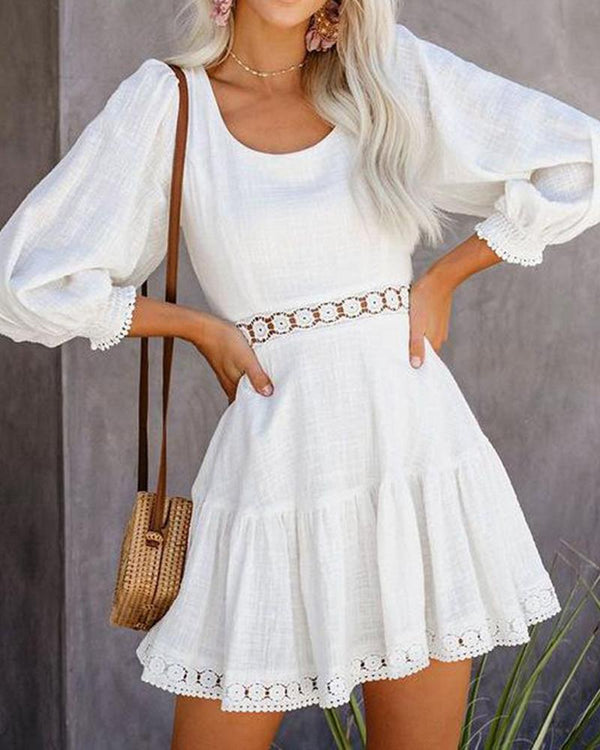 Long-sleeve gretl crochet dedicated casual dress