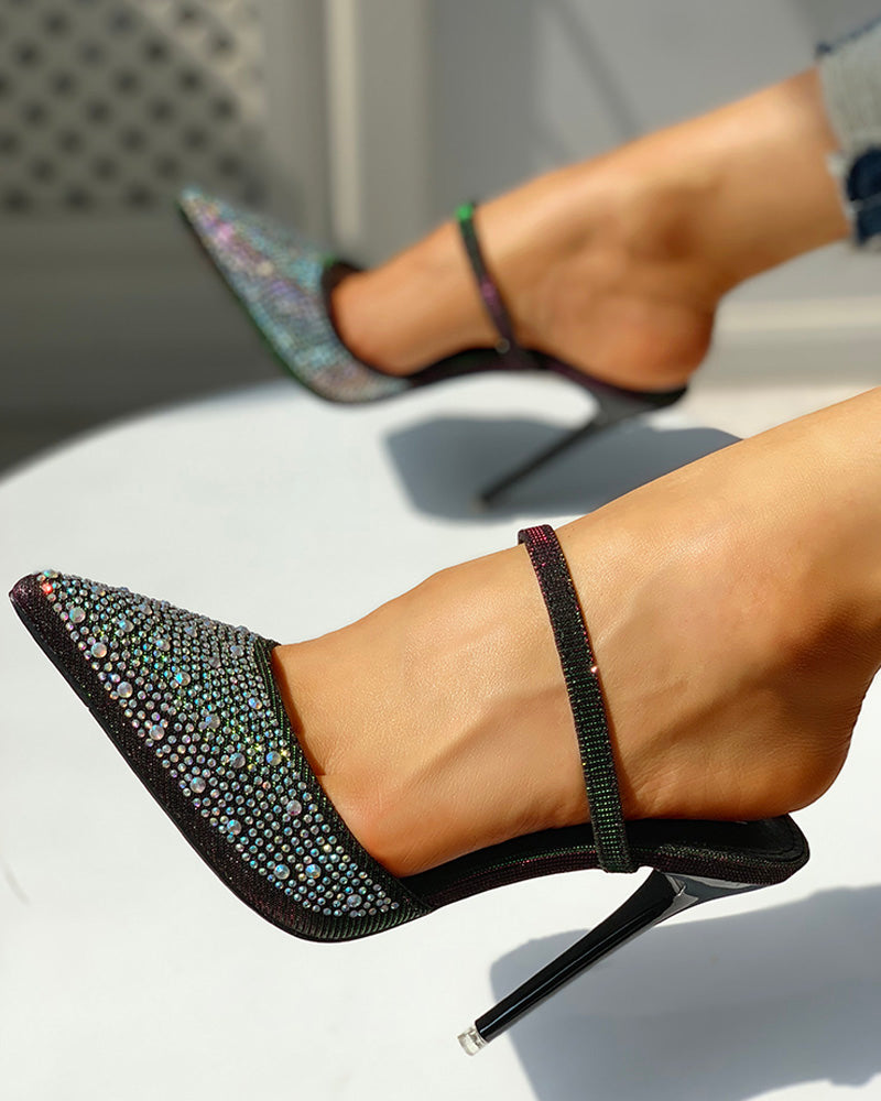 Pointed Toe Studded Design Heels