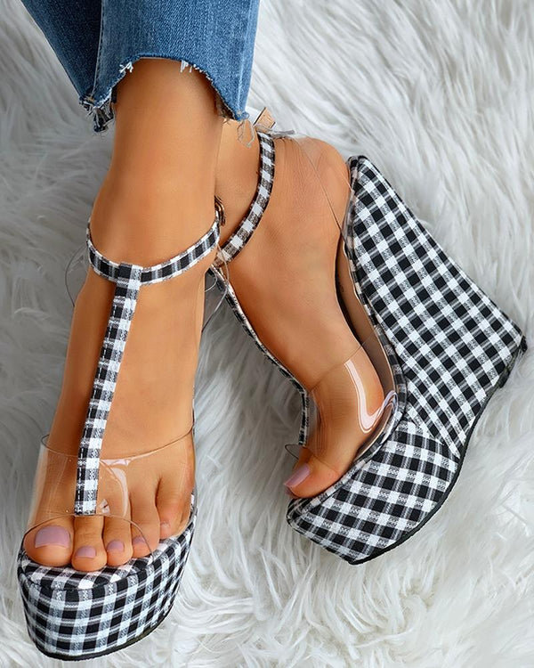 Transparent Grid T-Strap Platform Wedge Sandals