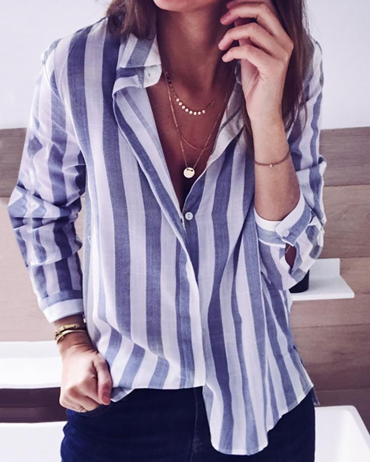 Fashion Striped Buttoned Casual Blouse