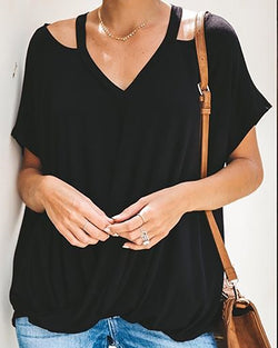 Short Sleeve V-Neck Cutout T-shirt