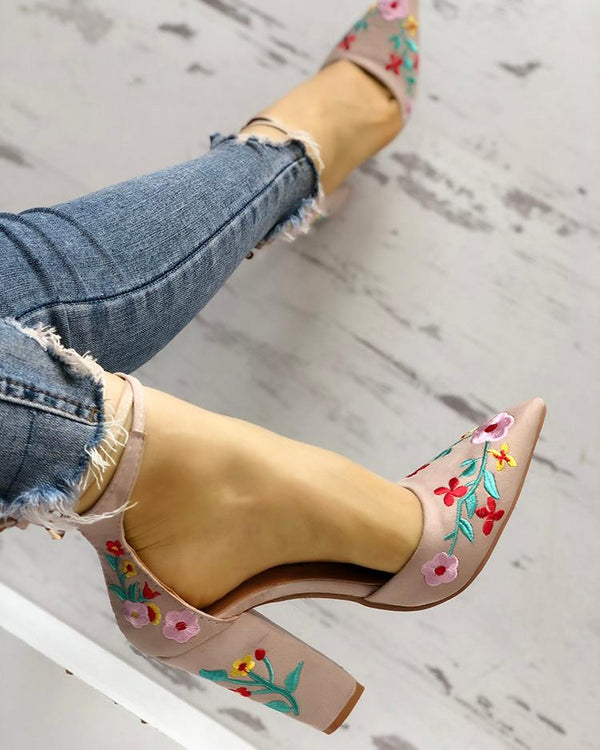 Floral Embroidered Pointed Toe Chunky Heeled Sandals