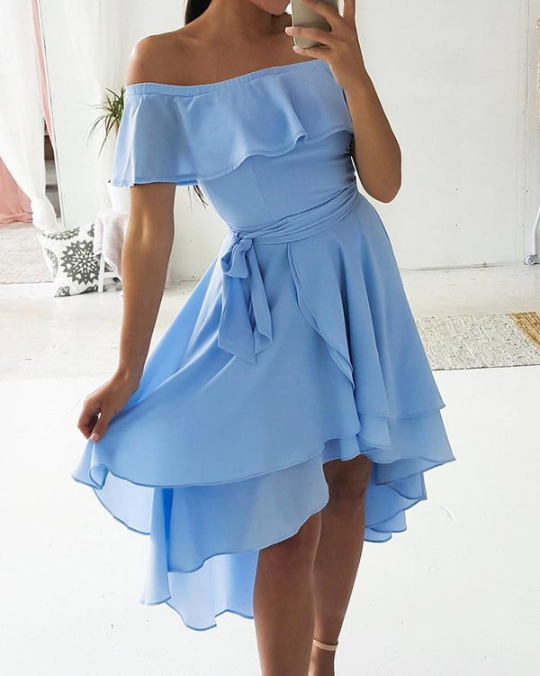 Flounce Off Shoulder Layered Dip Hem Casual Dress