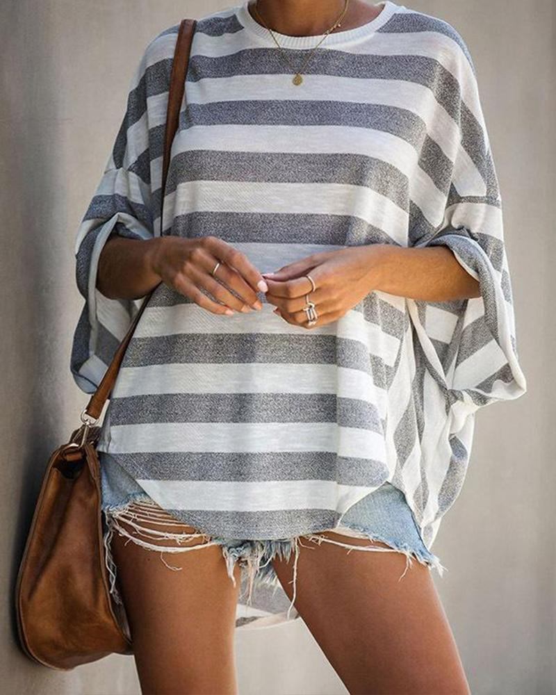 Striped Loose Batwing T Shirt