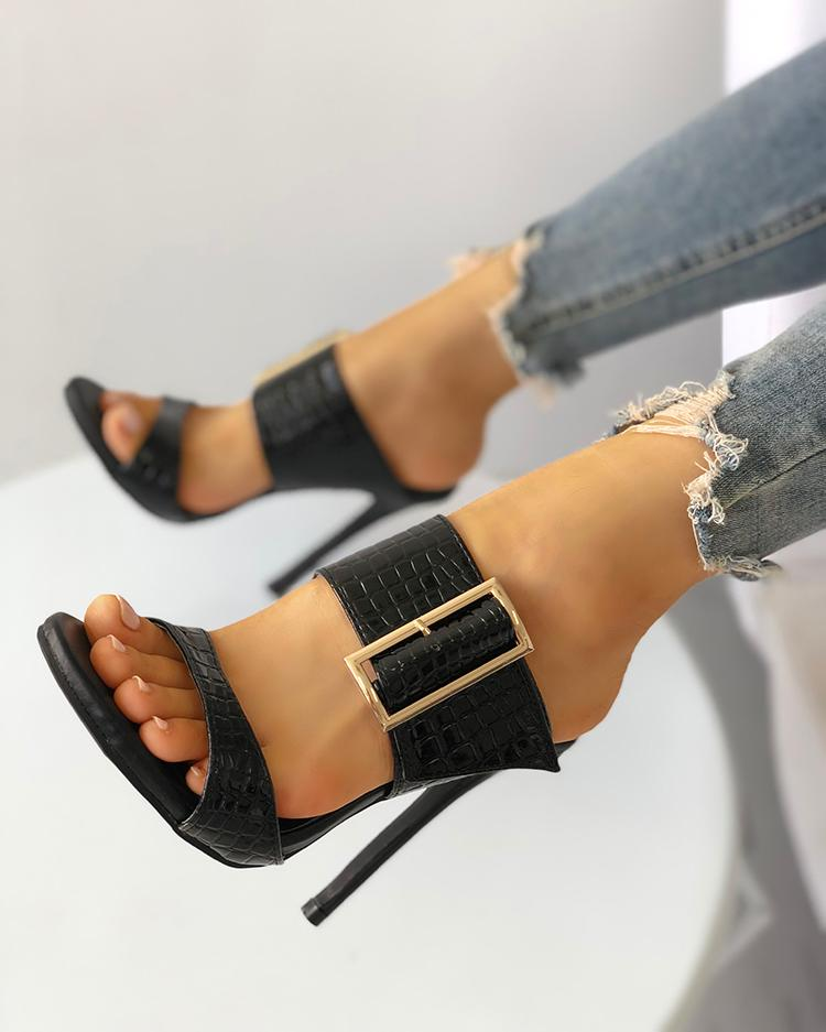 Solid Snakeskin Buckled Thin Heeled Sandals
