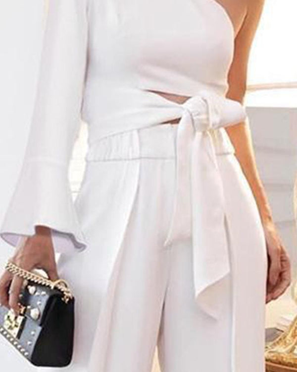One-Shoulder Sleeves With Jumpsuit