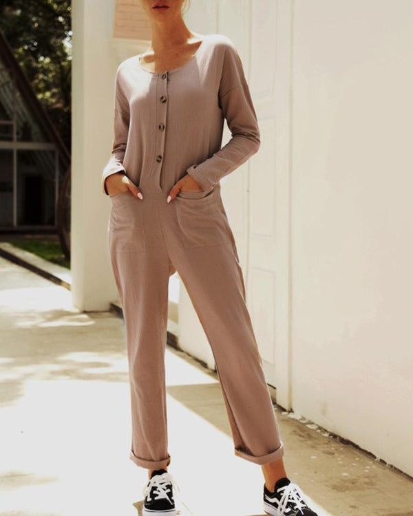 Autumn Cotton & Linen Jumpsuit