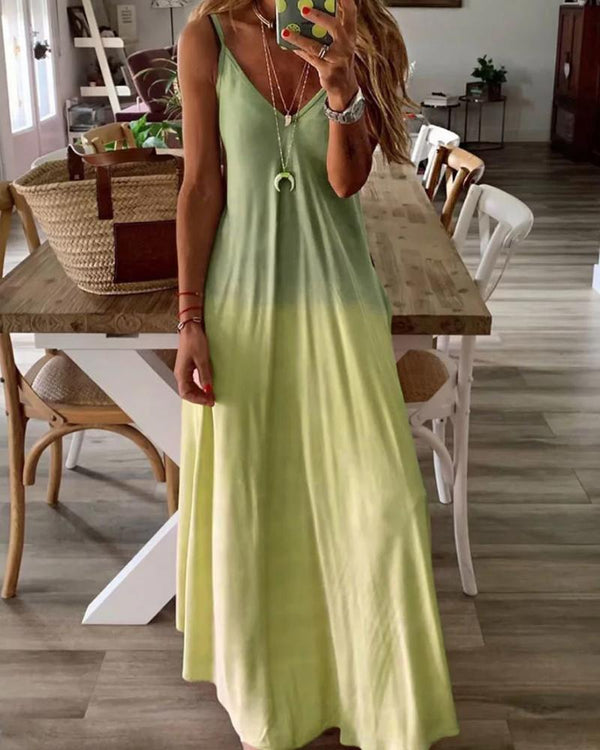 Gradient Color V-neck Sleeveless Maxi Dress