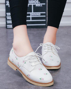 Solid Embroidered Lace-Up Sneaker