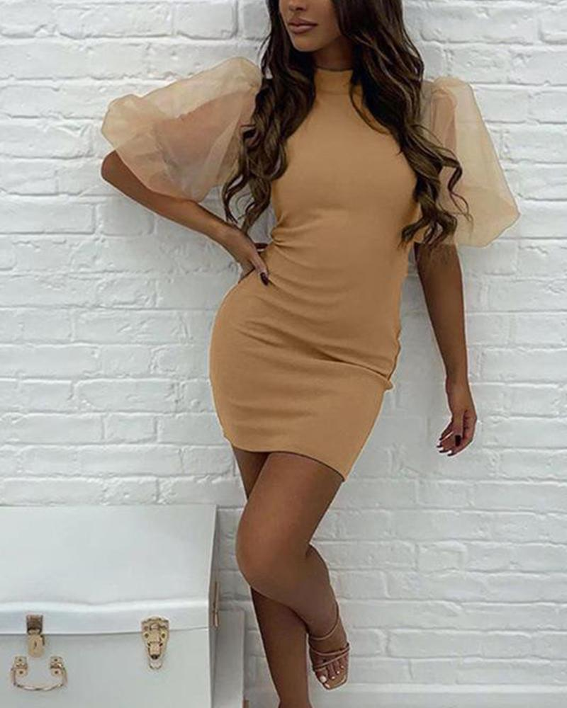 Mesh Lantern Sleeve Bodycon Dress