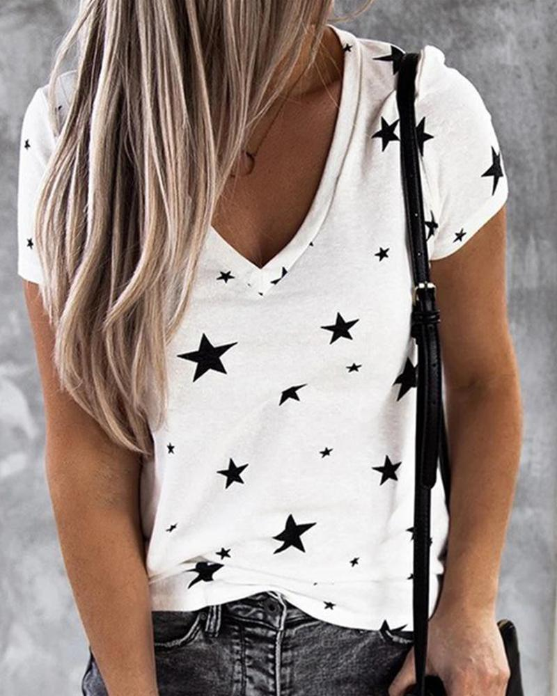 Star Print V-Neck Top