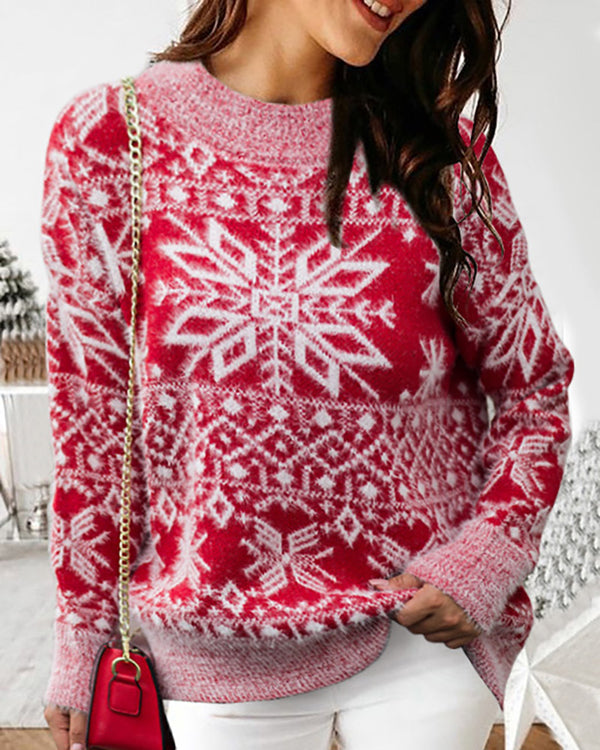 Christmas Snowflake Print Fluffy Ugly Sweater